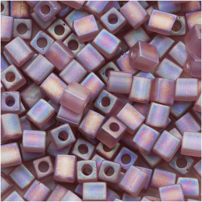 Miyuki 4mm Glass Cube Beads 'Transparent Frosted Lilac AB' #142FR 10 Grams