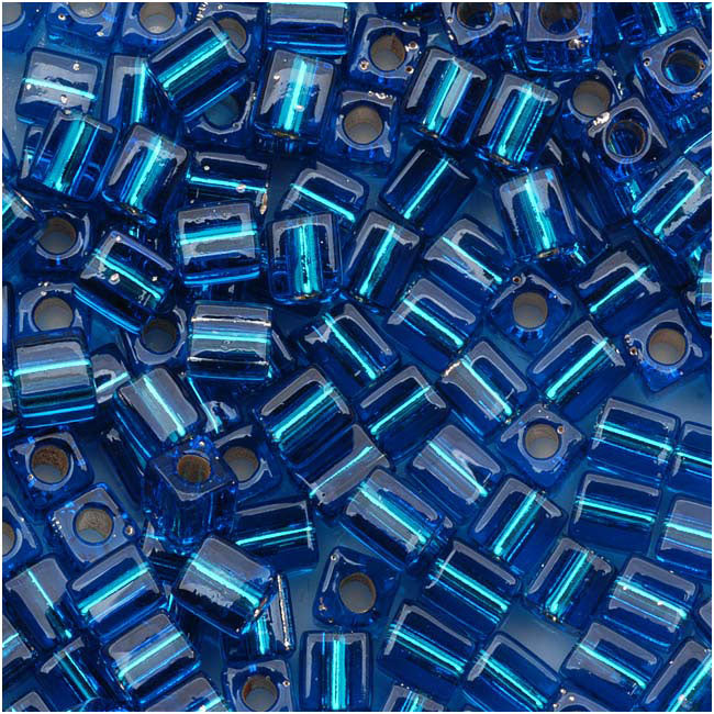 Miyuki 4mm Glass Cube Beads Silver Lined Capri Blue #1495 10 Grams