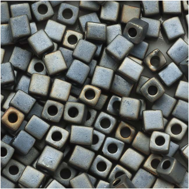 Miyuki 4mm Glass Cube Beads 'Metallic Silver Grey' #2002 10 Grams