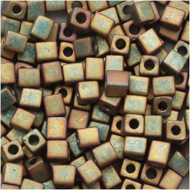 Miyuki 4mm Glass Cube Beads 'Matte Metallic Khaki Iris' #2035 10 Grams