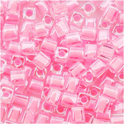 Miyuki 4mm Glass Cube Beads Pink Lined Crystal 207 10 Grams