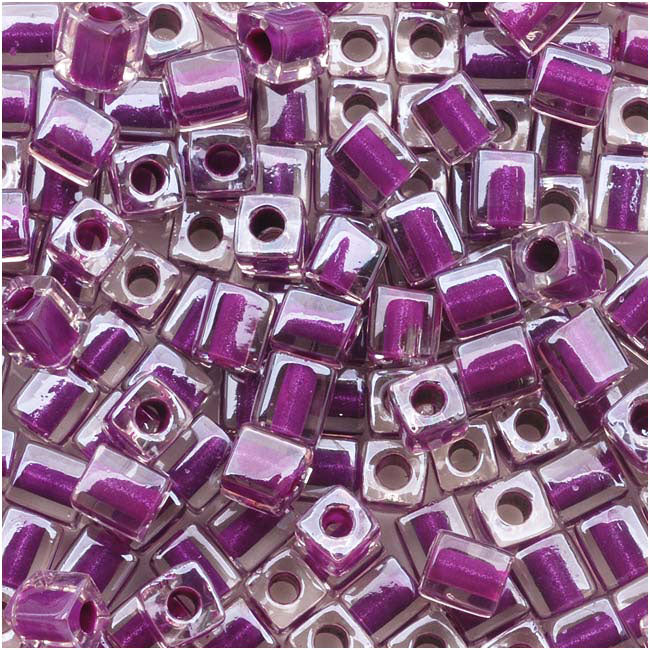 Miyuki 4mm Glass Cube Beads Purple Lined Crystal #243 10 Grams