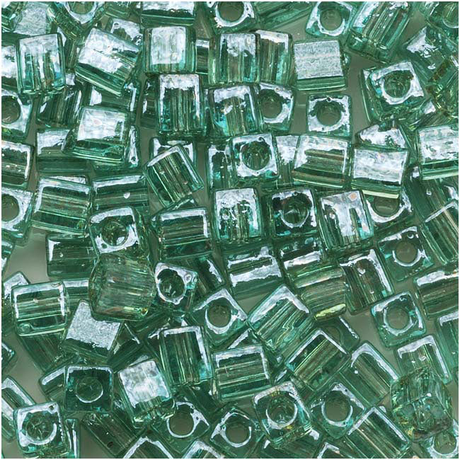 Miyuki 4mm Glass Cube Beads 'Transparent Sea Foam Luster' #2445 10 Grams