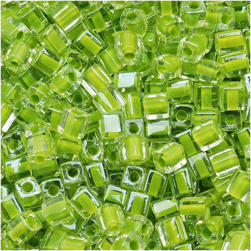 Miyuki 4mm Glass Cube Beads Lime Green Lined Crystal 245 10 Grams