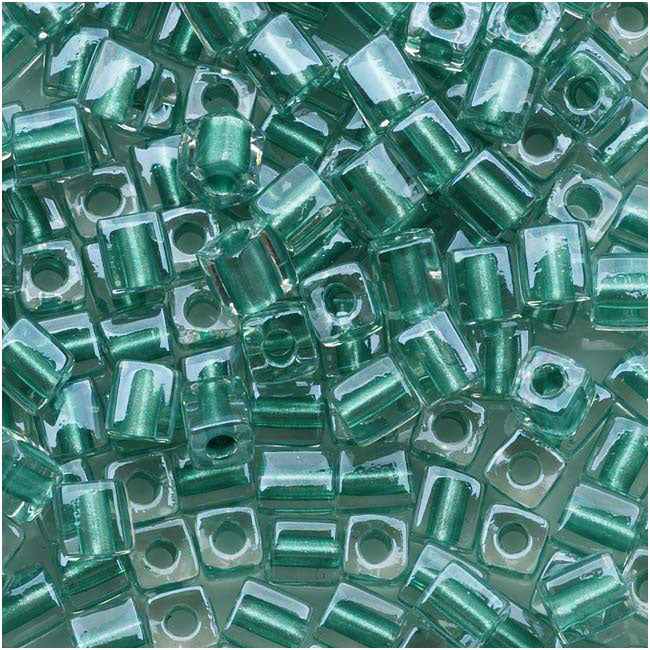 Miyuki 4mm Glass Cube Beads 'Metallic Teal Lined Crystal' #2605 10 Grams
