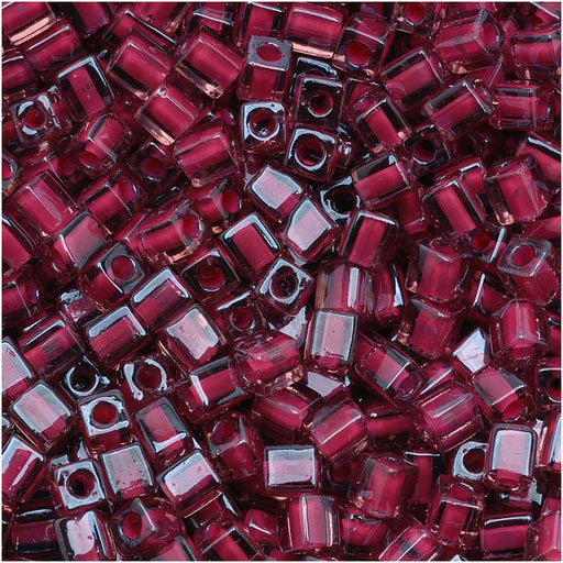 Miyuki 4mm Glass Cube Beads Pink Lined Transparent Red 2649 10 Grams