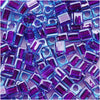Miyuki 4mm Glass Cube Beads Purple Lined Blue #2651 10 Grams
