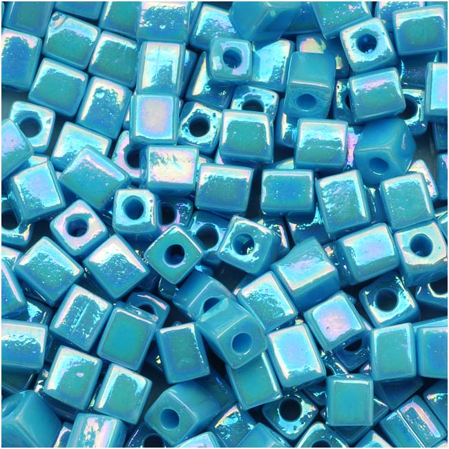 Miyuki 4mm Glass Cube Beads Opaque Light Blue AB #4132 10 Grams
