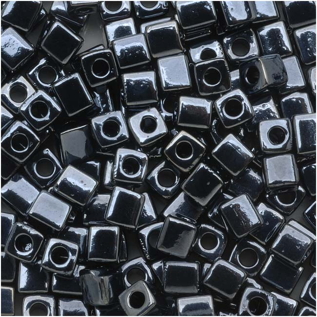Miyuki 4mm Glass Cube Beads Metallic Gunmetal #451 10 Grams