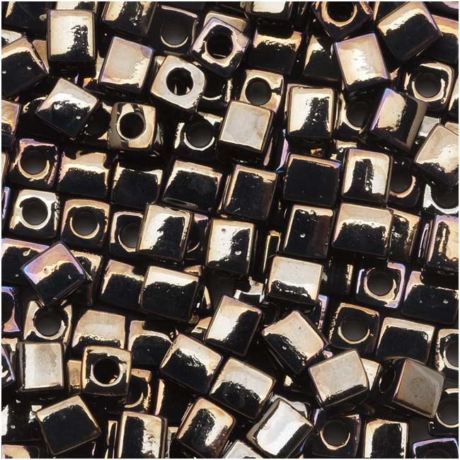 Miyuki 4mm Glass Cube Beads 'Metallic Gunmetal Iris' #458 10 Grams