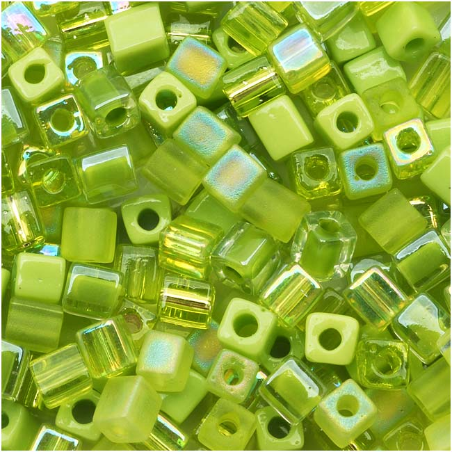 Miyuki 4mm Glass Cube Bead Mix 'Peridot Medley' Green 10 Grams