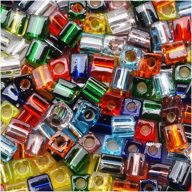 Miyuki 4mm Glass Cube Bead Mix 'Silver Lined Rainbow' 10 Grams