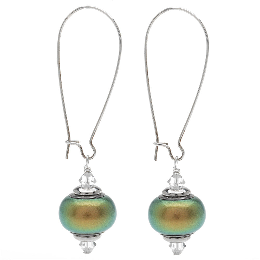 Retired - Anna Earrings in Iridescent Green