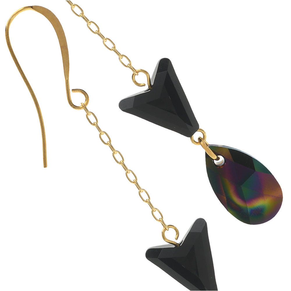 Retired - Dark Rainbow Drop Earrings