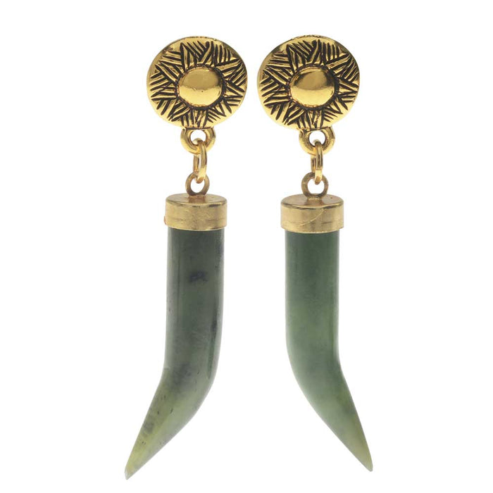 Jade Horn Earrings