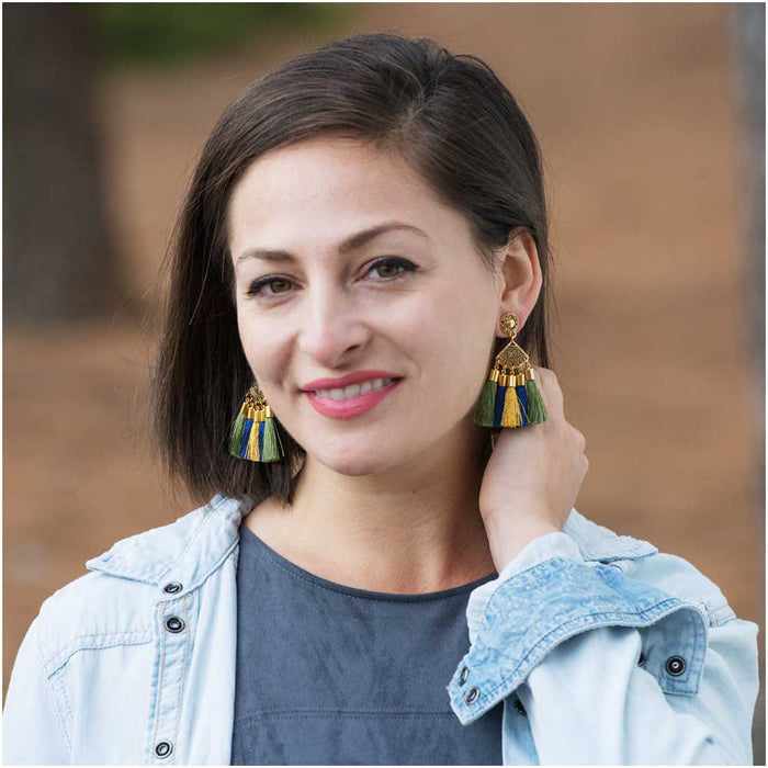 Golden Fan Tassel Earrings