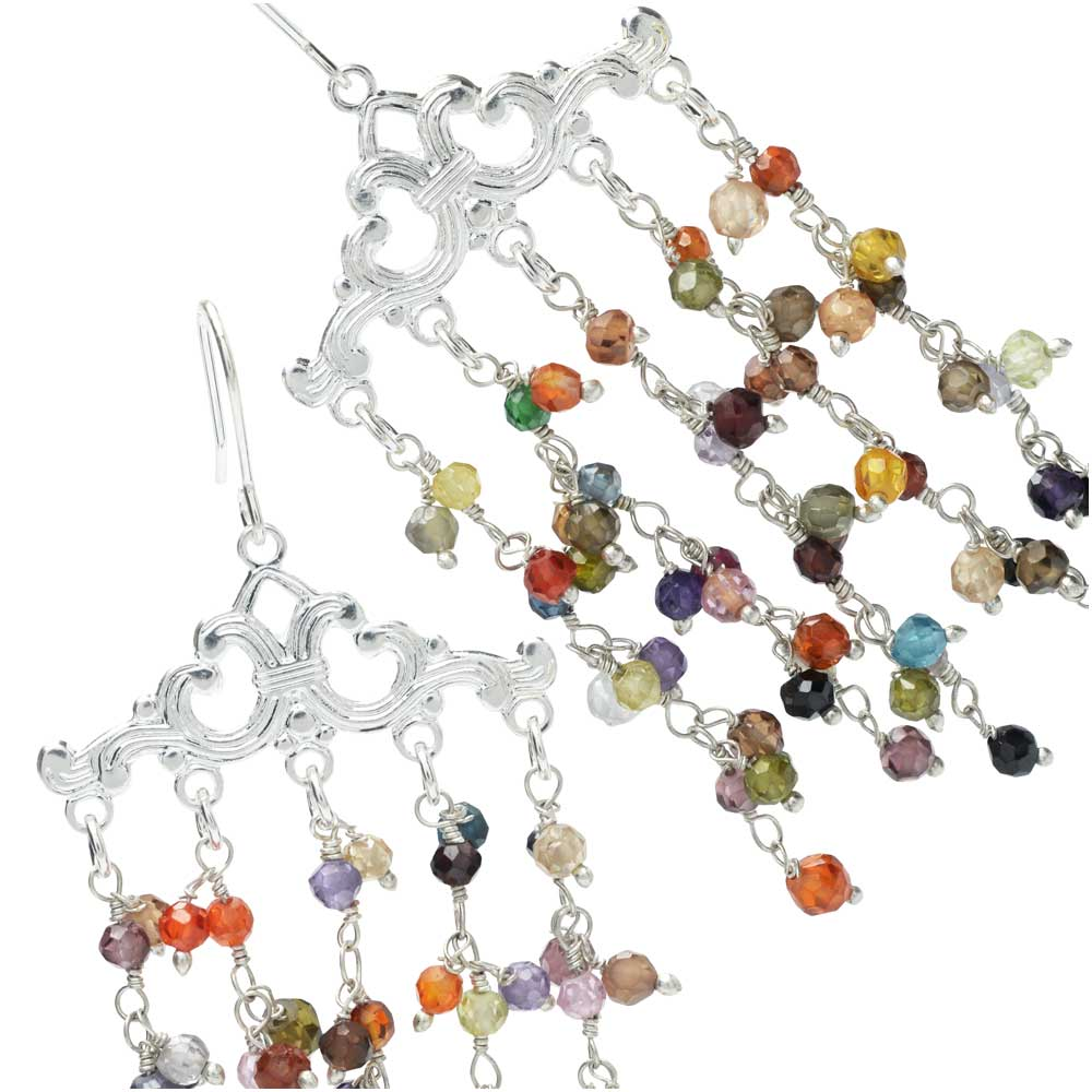 Gemstone Waterfall Earrings