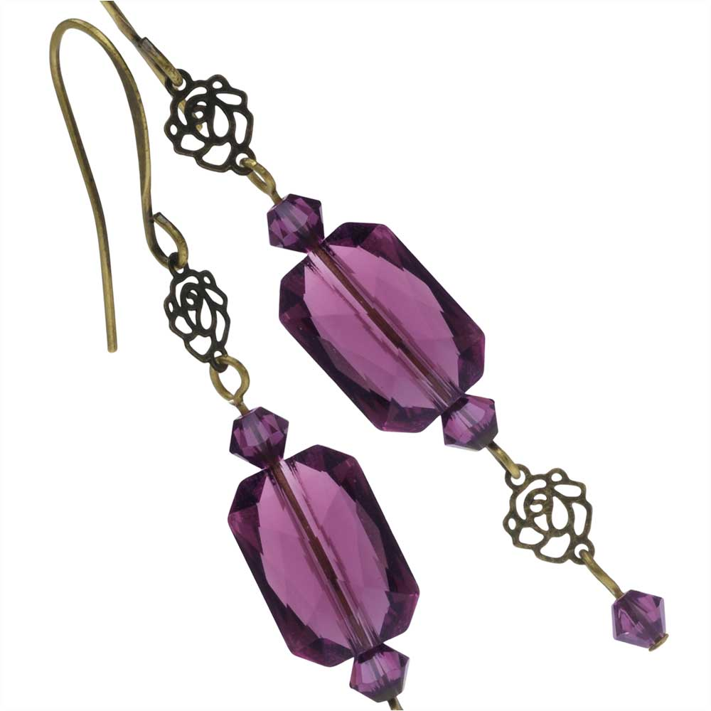 Amethyst Rose Earrings