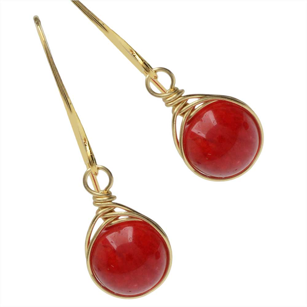 Crimson Herringbone Drop Earrings