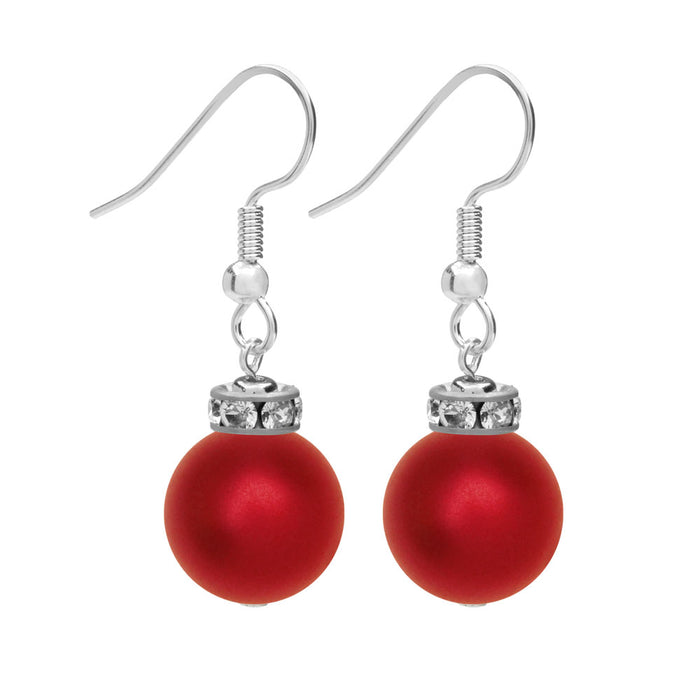 Christmas Ornament Earrings in Rouge and Silver