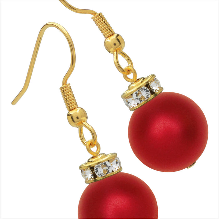 Christmas Ornament Earrings in Rouge and Gold