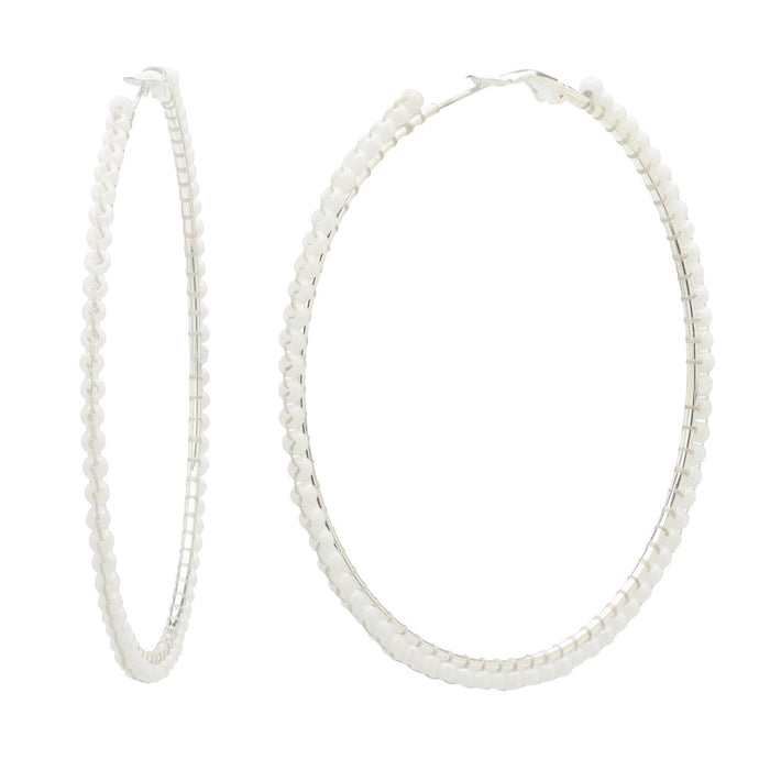 White Hot Summer Hoop Earrings