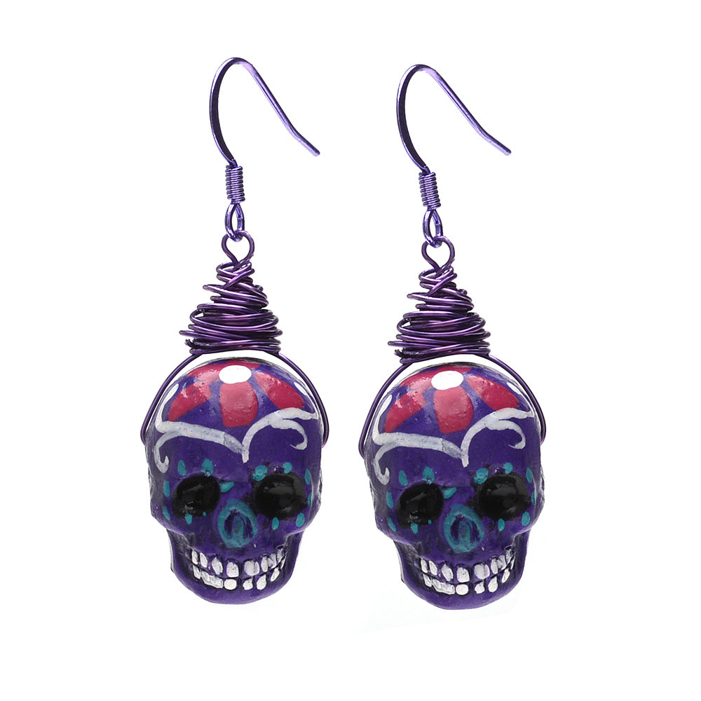 Retired - Purple Sugar Skull Earrings