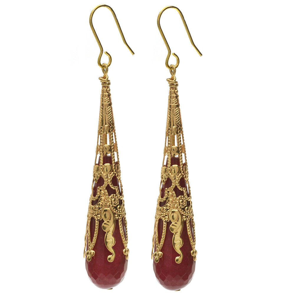 Gilded Ruby Drop Earrings