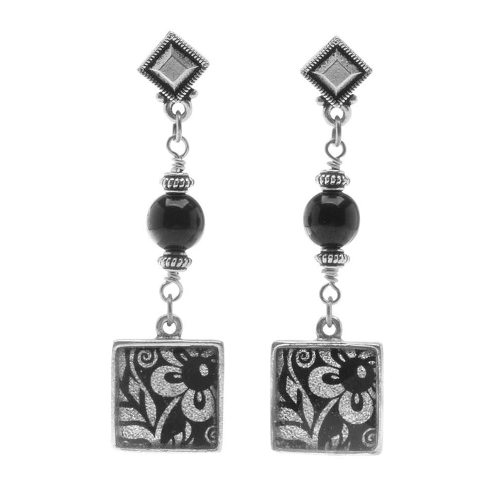 Retired - Classic Black and Silver Daisy Earrings