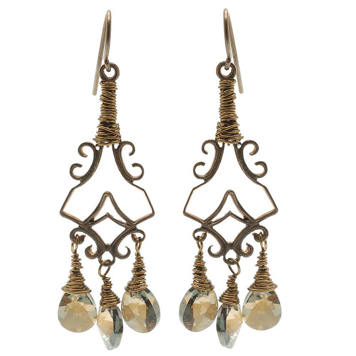 Retired - Crystal Bronze Shade Etruscan Earrings