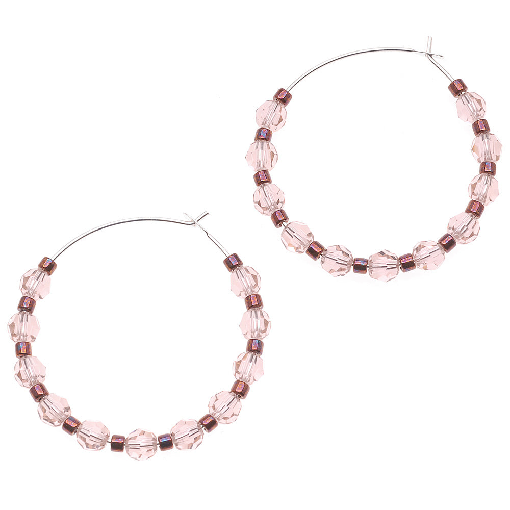 Raspberry Rose Hoop Earrings