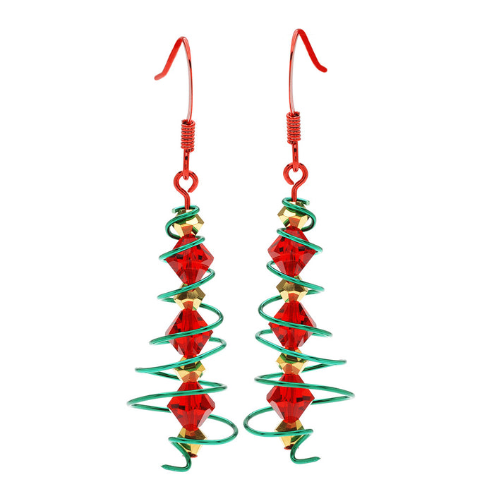 Retired - Wire Spiral Christmas Tree Earrings
