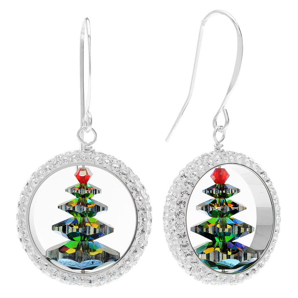 Retired - Captured Crystal Christmas Tree Earrings