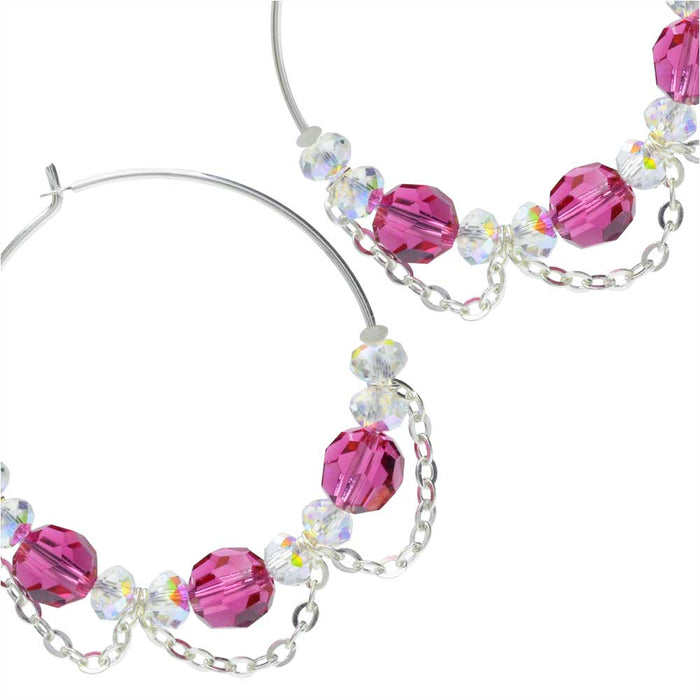 Scalloped Chain Hoops in Fuschia