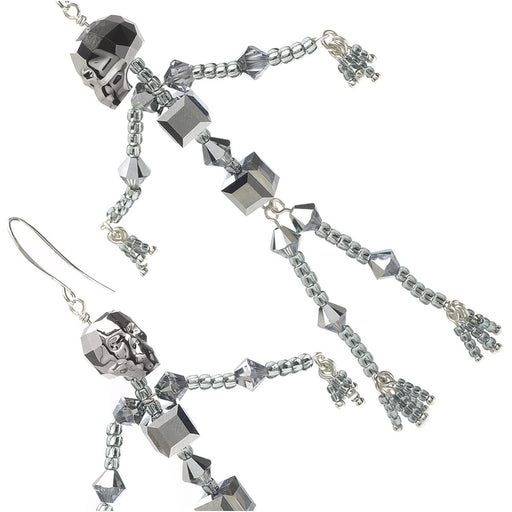 Swarovski Crystal Skeleton Earrings