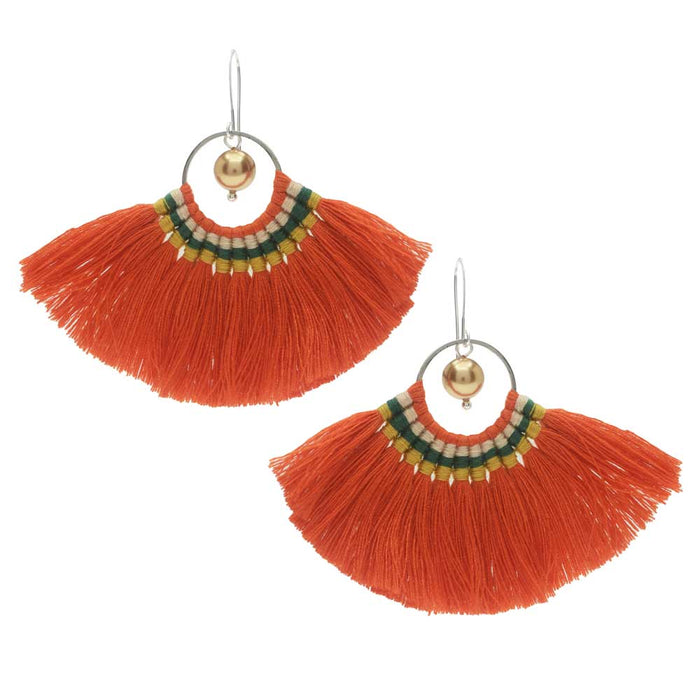 Citrus Grove Fanned Tassel Earrings