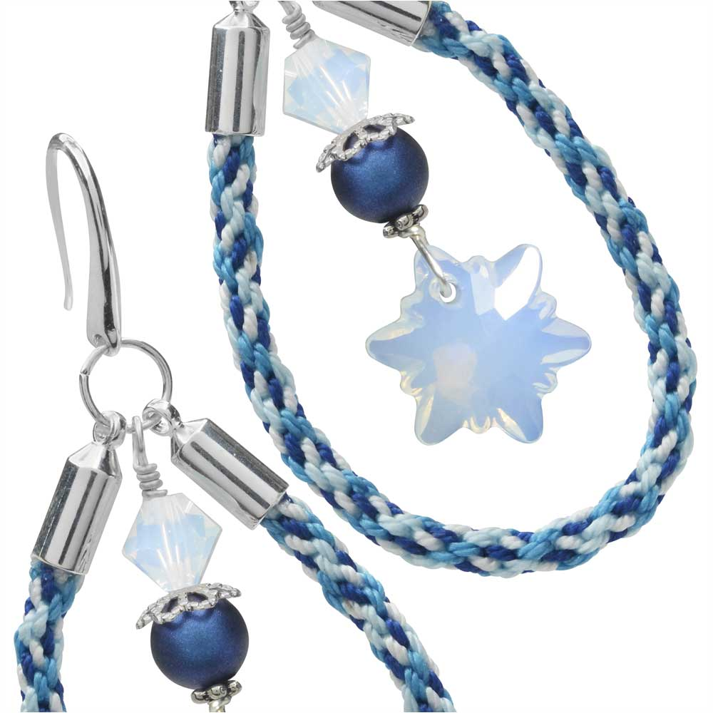 Kumihimo Loop Earrings in Ice Blue
