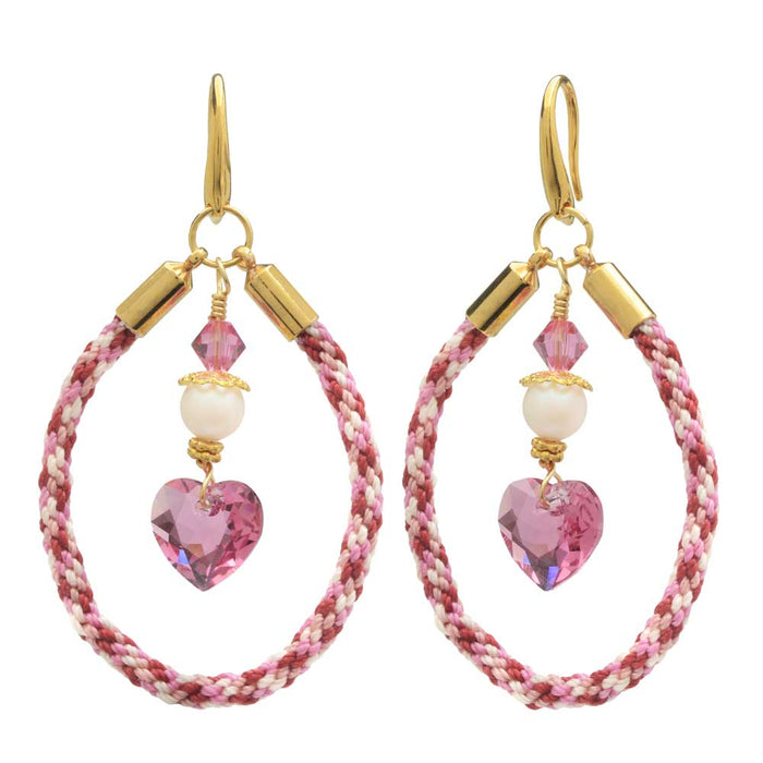 Kumihimo Loop Earrings in Rouge