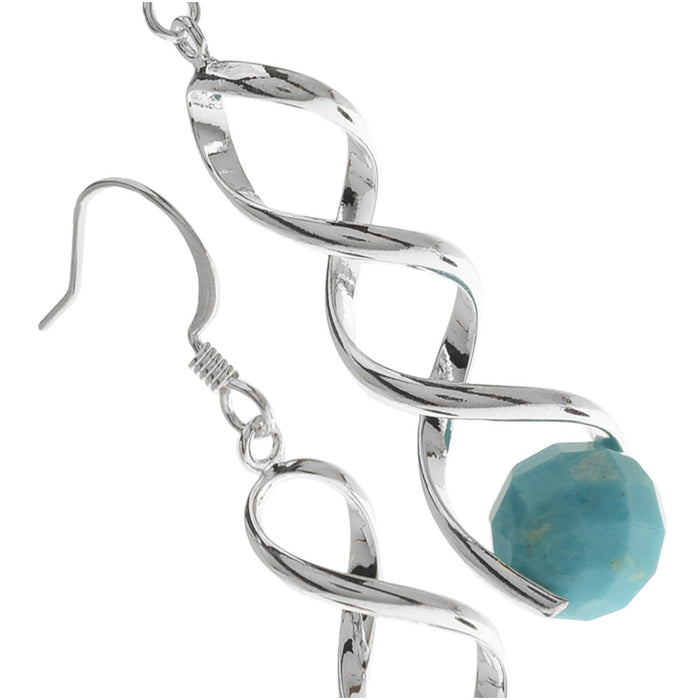 Pinch Bail Gemstone Earrings in Turquoise