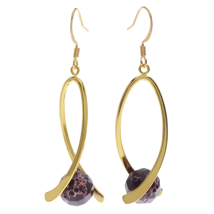 Pinch Bail Gemstone Earrings in Purple