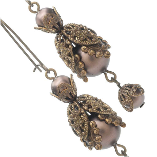 Velvet Brown Filigree Earrings