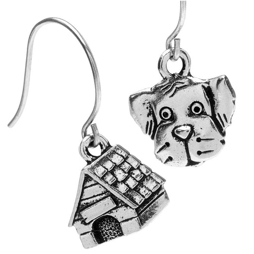 In the Doghouse Puppy Earrings in Silver