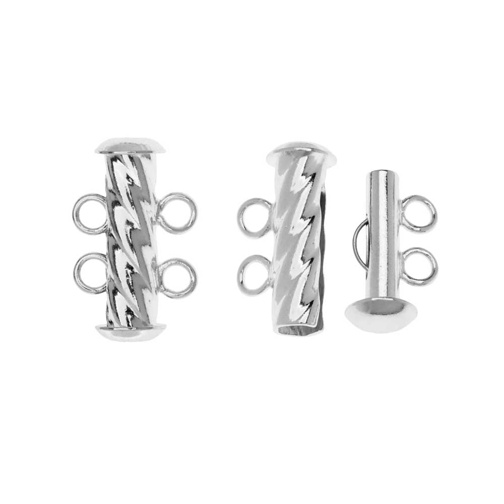 Slide Tube Clasps, 2-Strand Fluted Twist 17 x 4.5mm, 2 Sets, Silver Plated