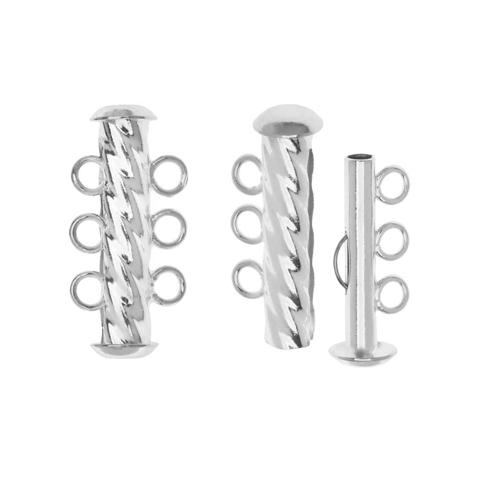 Slide Tube Clasps, 3-Strand Fluted Twist 22 x 4.5mm, 2 Sets, Silver Plated