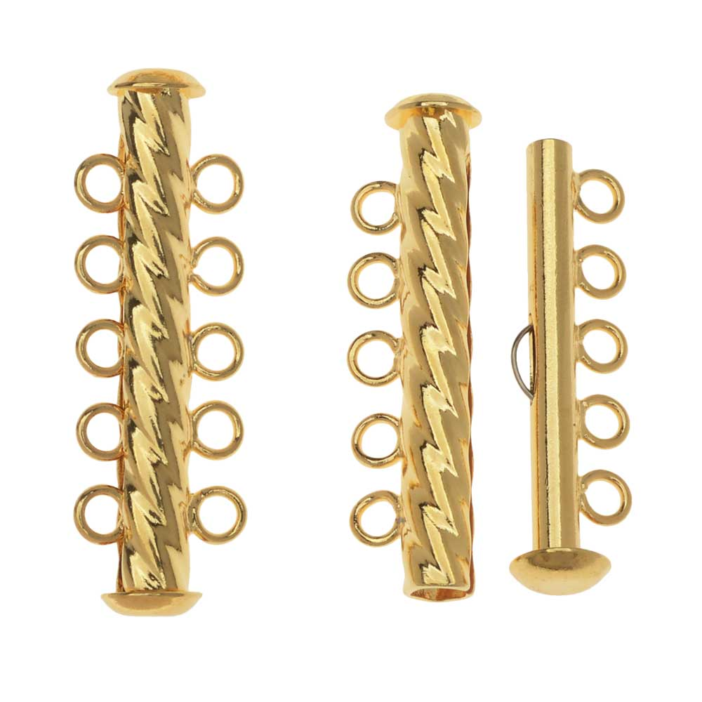 Slide Tube Clasps, 5-Strand Fluted Twist 32 x 4.5mm, 2 Sets, Gold Plated