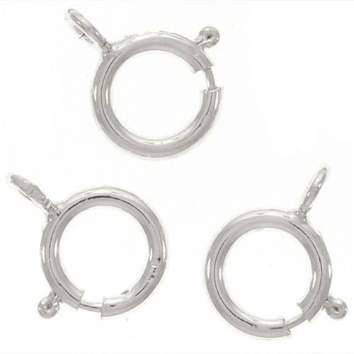 Sterling Silver Spring Ring Round Clasps 6mm (10)