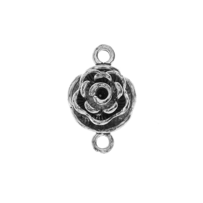Magnetic Clasp, Rose Blossom Flower Design 20x13mm, 1 Set, Antiqued Silver Tone