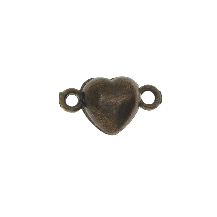 Magnetic Clasp, Puffy Heart Design 17.5x10mm, 2 Sets, Antiqued Bronze Tone