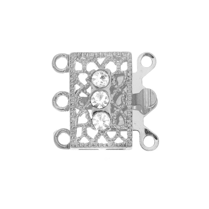 Box Clasp, 3-Strand Filigree Rectangle Design with 3 Rhinestones 18x17mm, 2 Sets, Platinum Tone