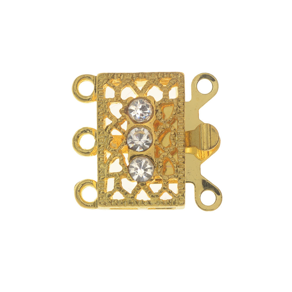 Box Clasp, 3-Strand Filigree Rectangle Design with 3 Rhinestones 18x17mm, 2 Sets, Gold Tone
